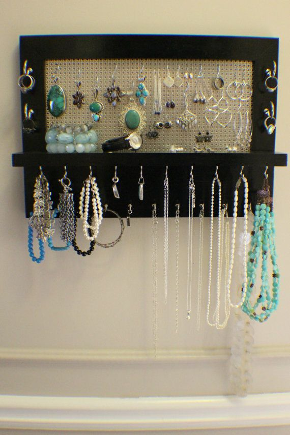 Black Lacquer Wall Mounted Jewelry Organizer, Wall