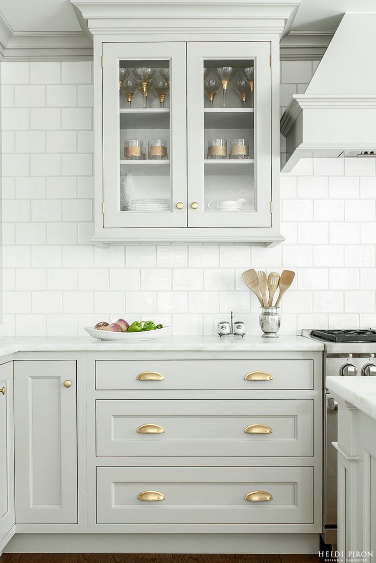 inset cabinets kitchen cabinet hinges Look We Love Gray Kitchen Cabinets with Brass Hardware