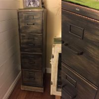 Refinished metal filing cabinet. Oil rubbed bronze/copper ...