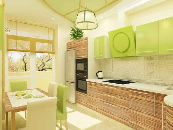 Gree N White Combination For Kitchen Cabinets Great Kitchen Idea: Combination Of Light Wood Grain Finish