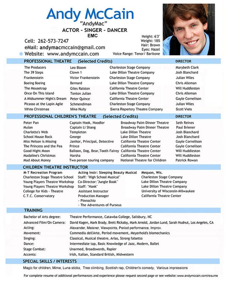 professional actor resume