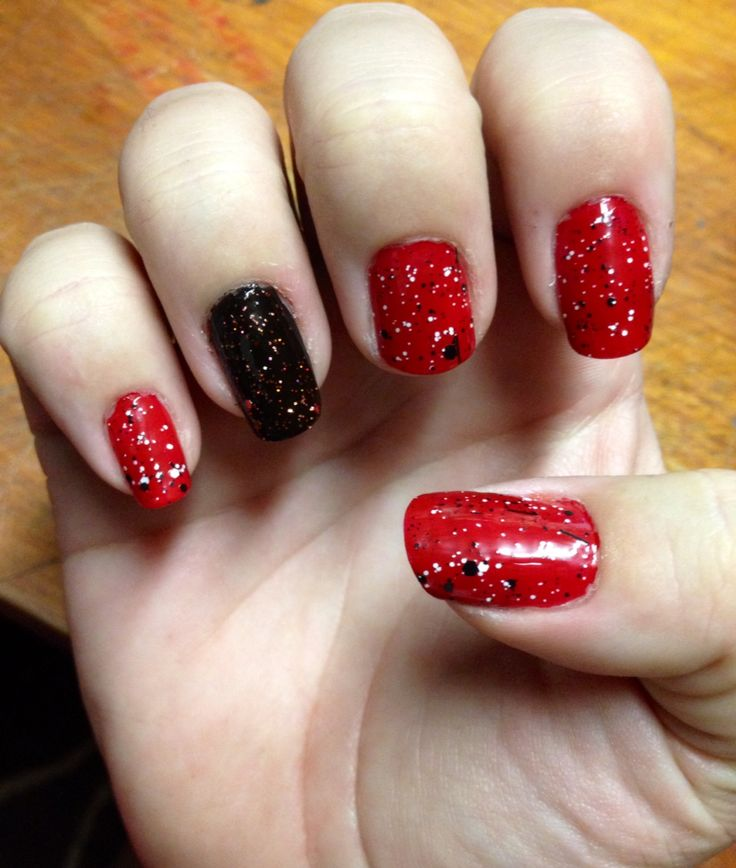 Halloween Nails Red Black With Red Glitter And Newsprint