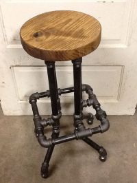 Industrial Bar Stool with Round Top by SawdustIndustries