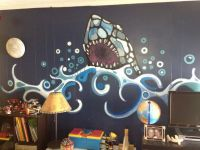 Kids Bedroom Ideas Shark Wall Mural Decorating | Boy ...