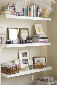 Love these floating shelves...for an office or craft area ...