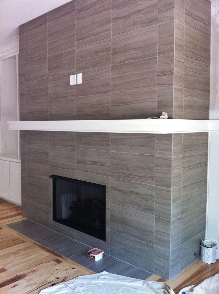 12x24 Porcelain Tile On Fireplace Wall And Return Walls