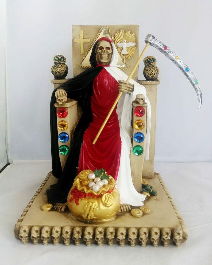 Angel Girl And Skulls Wallpaper 12 Quot Tri Color Statue La Santa Muerte Holy Death Grim