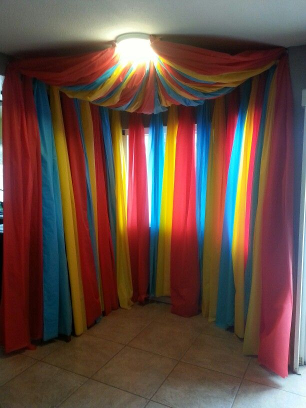 Birthday Party Background Circus Tent, Plastic Table Cloths, Tape, And Velcro