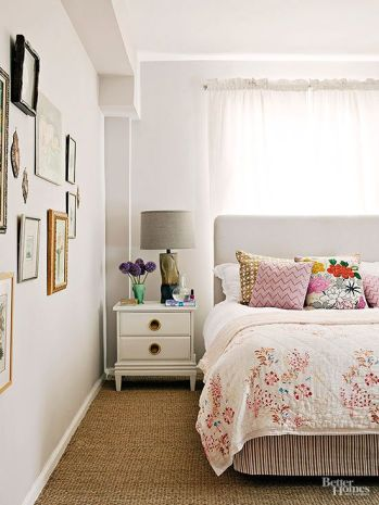 DON'T Be Afraid to Put Your Bed In Front of a Window Sometimes, in a small room, it's the only option if you want to also squeeze in dressers and nightstands. Plus, placing your bed in front of a window can create a super-strong focal point: