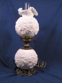 vintage milk glass double globe hurricane lamp.   Vintage ...