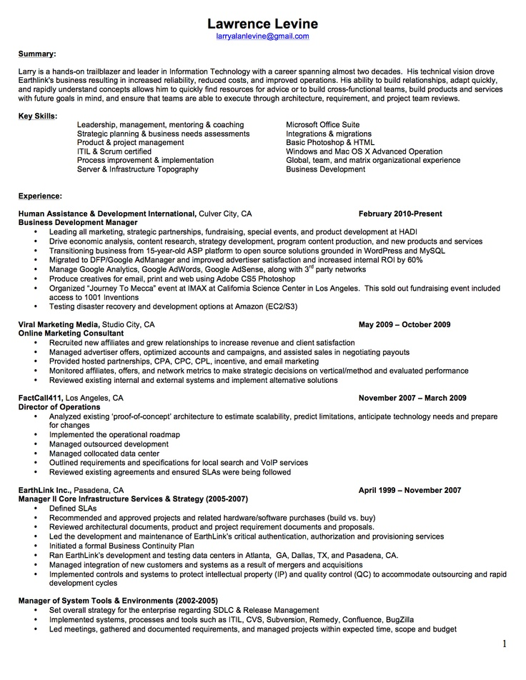 itil resume example