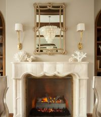 French Marble Fireplace with Ruhlmann Single Sconces ...