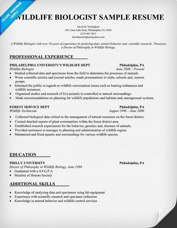 an example of a good wildlife biologist resume