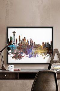Seattle Print, Seattle poster, Seattle skyline, Seattle ...