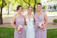 Maid and matron of honor in suede rose | wedding dresses ...