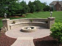 Exterior, Very Popular Round Fire Pit With Paver Stone ...