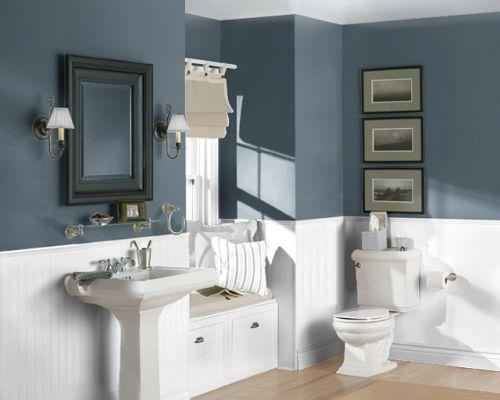 Fall Flannel Wallpaper Paint Color Sea Serpent Sherwin Williams Master Bath And
