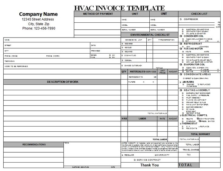 Download Free Hvac Invoice Template Download rabitahnet - hvac invoice templates