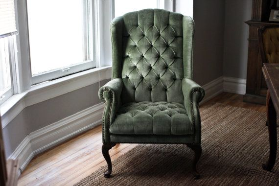 Mint green velvet tufted wingback chair green mint
