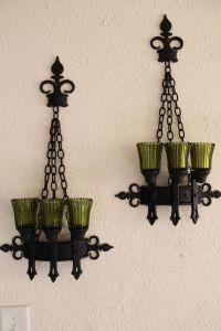 Candle Holder Vintage Set Glass Pillar Wall Victorian ...