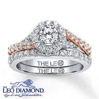 Leo Diamond Bridal Set 1 1/4 ct tw Round-cut 14K Two-Tone ...