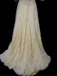 Irish Lace Ivory Silk Late 1800s Ornate Wedding Gown ...