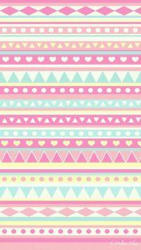 super cute girly blue pink yellow aztec prints wallpaper ...