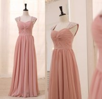 Dusty Rose Light Pink Cap Sleeves Chiffon Bridesmaid Dress ...