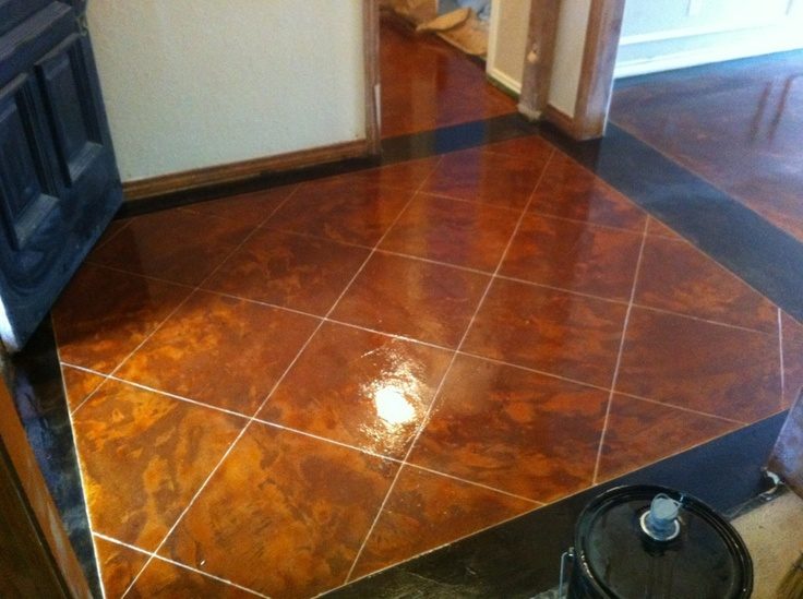 Stained Concrete Bathroom Floor Stained Concrete With Black Border Scored To Look Like