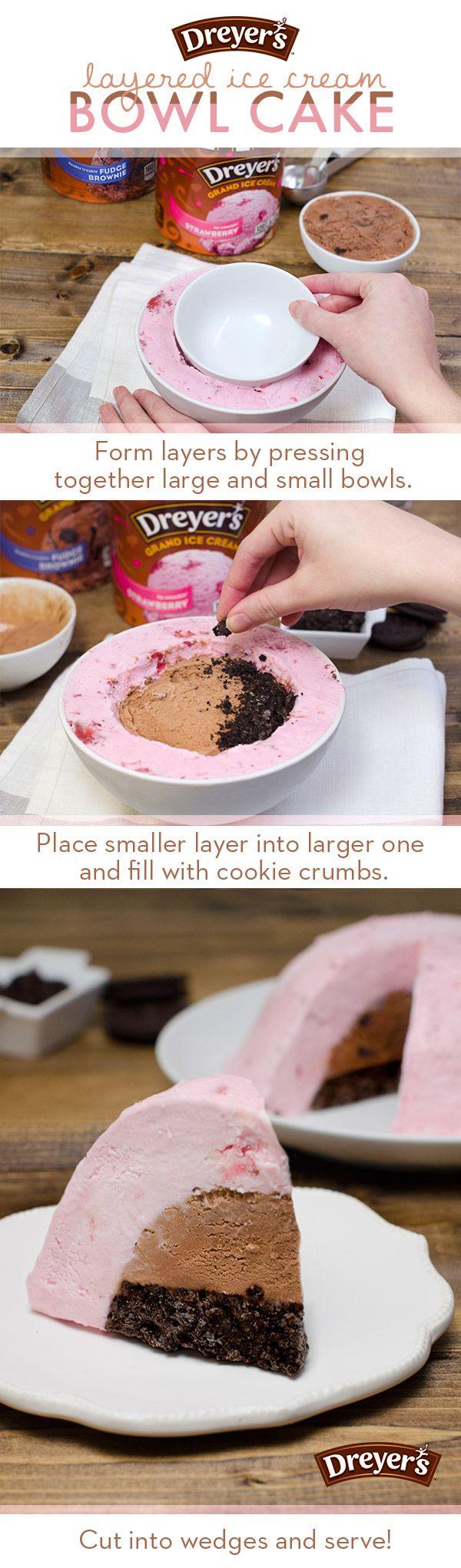 Layered Ice Cream Bowl Cake! Awesome!