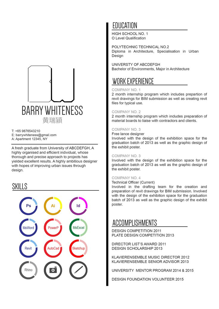 layout for resumes