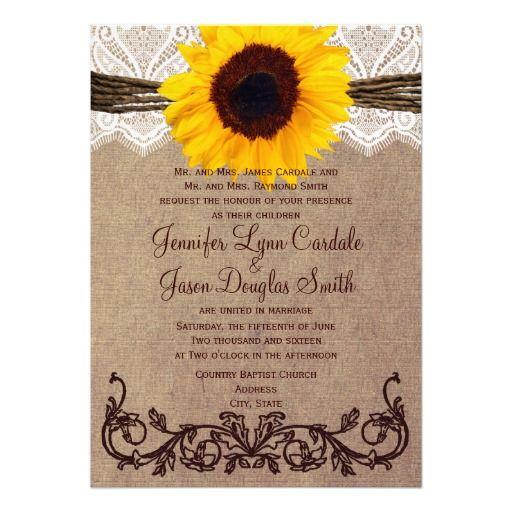Rustic Country Sunflower Wedding Invitations Sunflower