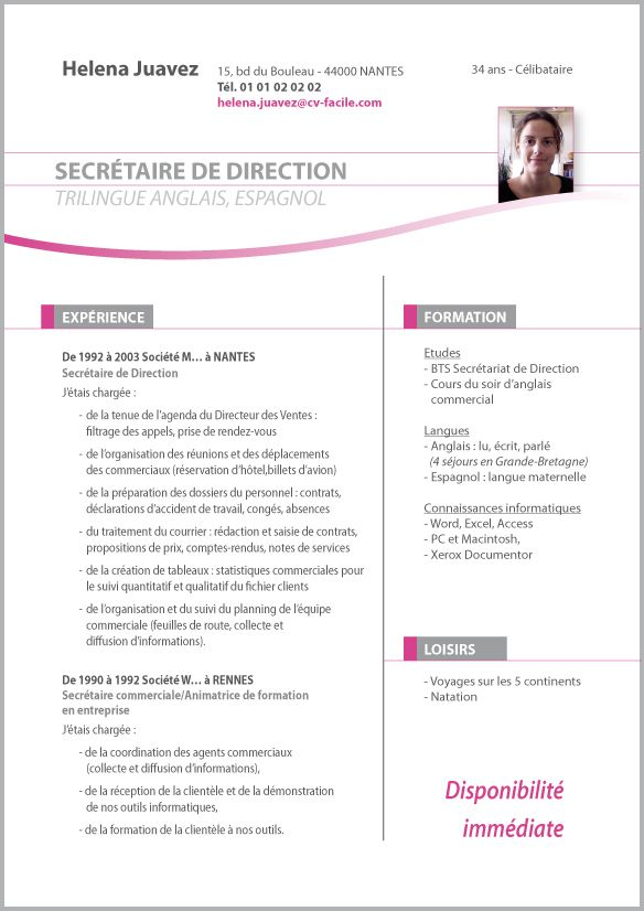 comment faire un cv secretaire