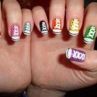 Awesome nail art! cute idea to do converse shoes!!