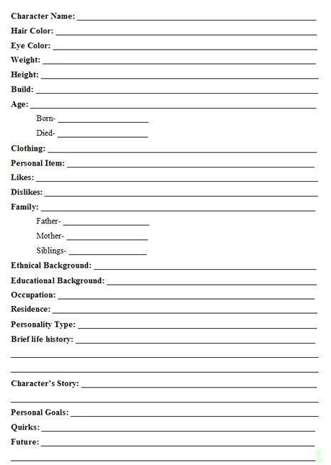 Character Profile Template Ks1 – Profile Sheet Template