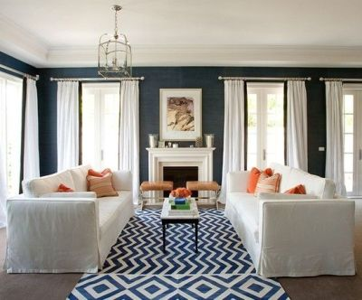 GEORGICA POND: Navy Blue Grasscloth wallpaper. same rug | Living Room Shopping | Pinterest ...