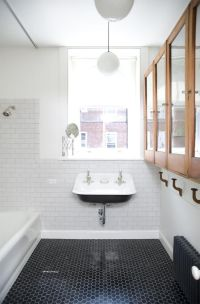 Hexagon black floor tiles