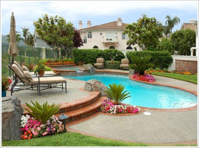 Plants around a pool area