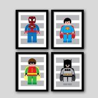 Superhero wall art prints, super heroes, batman spiderman ...