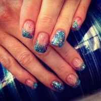 Powder Nail Designs | Aqua glitter summer nails in solar ...