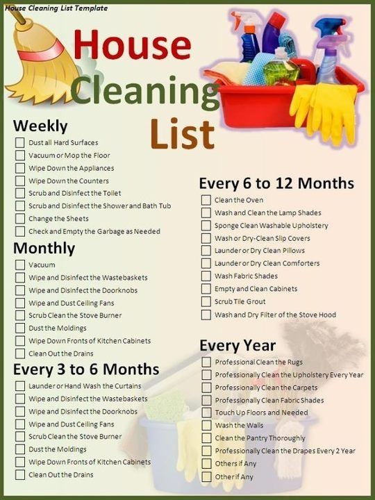 daily weekly monthly chore list template