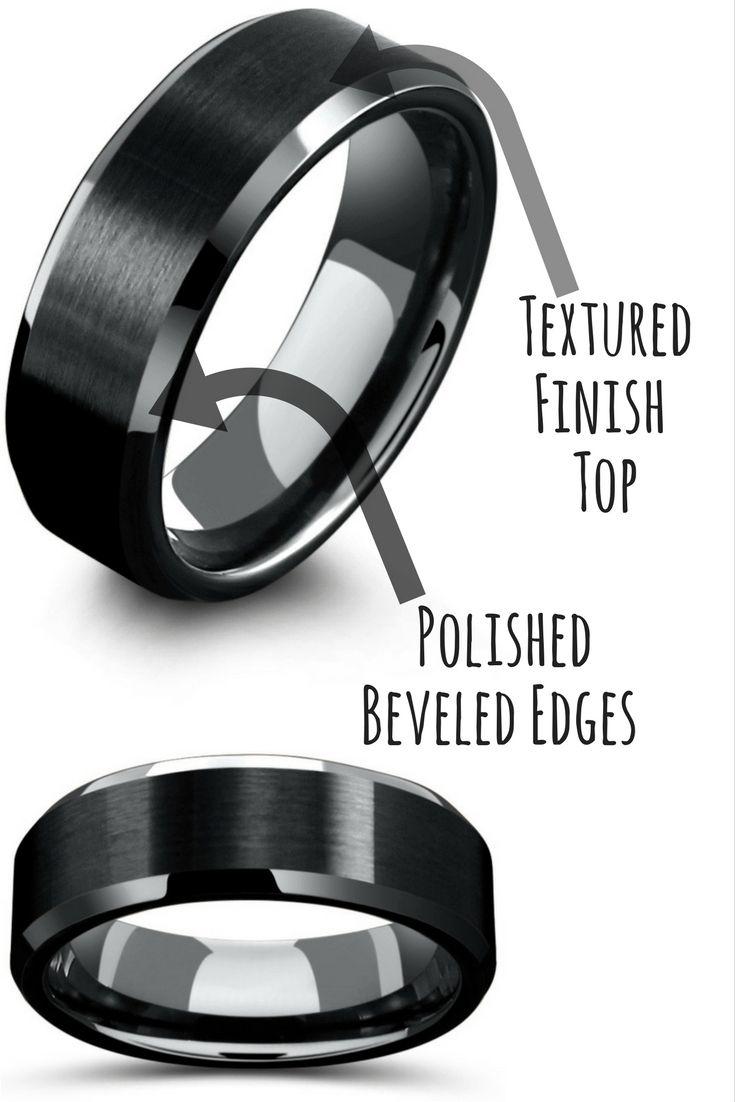 tungsten wedding rings grey tungsten wedding bands 8mm Mens Black Tungsten Wedding Ring With Matte Center