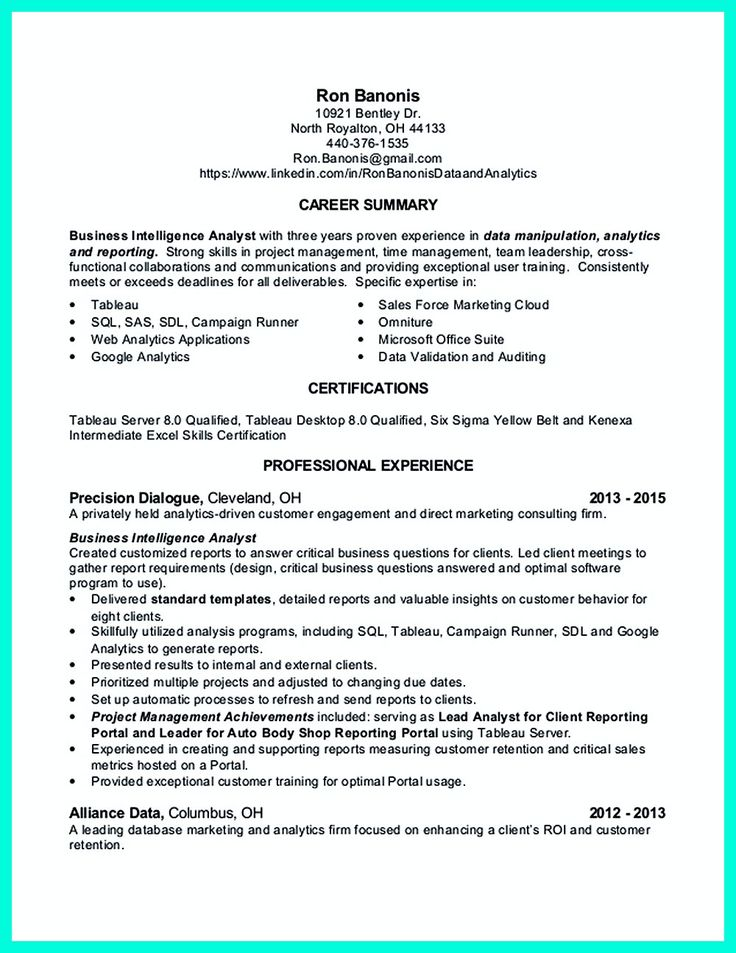 business analyst profile resume