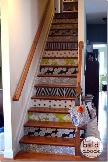 Place Removable wallpaper on stair risers | stairs | Pinterest | Stair Risers, Stairs and Wallpapers