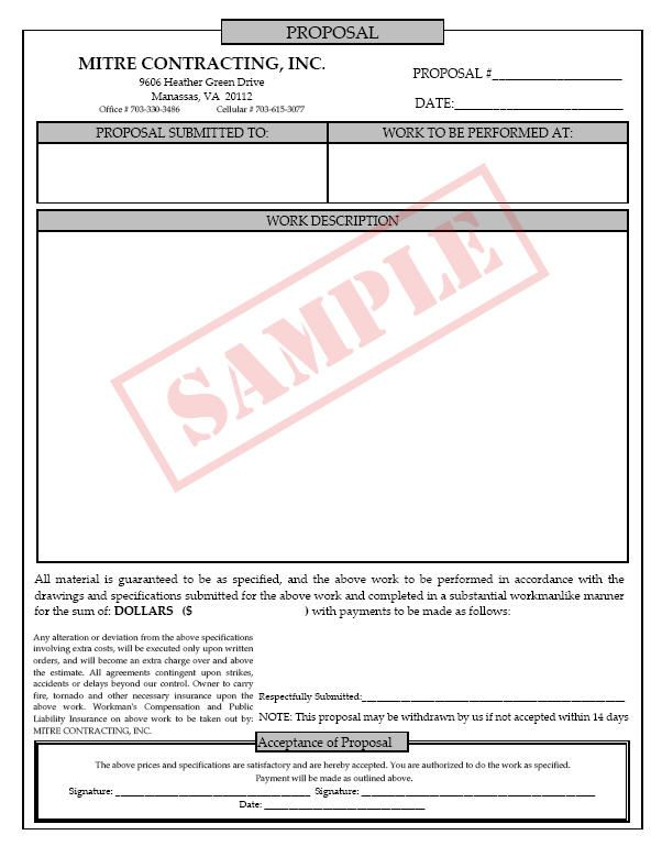 free cleaning bid forms