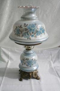 VINTAGE HURRICANE LAMP GWTW BLUE FLORAL PARLOR LAMP~My ...