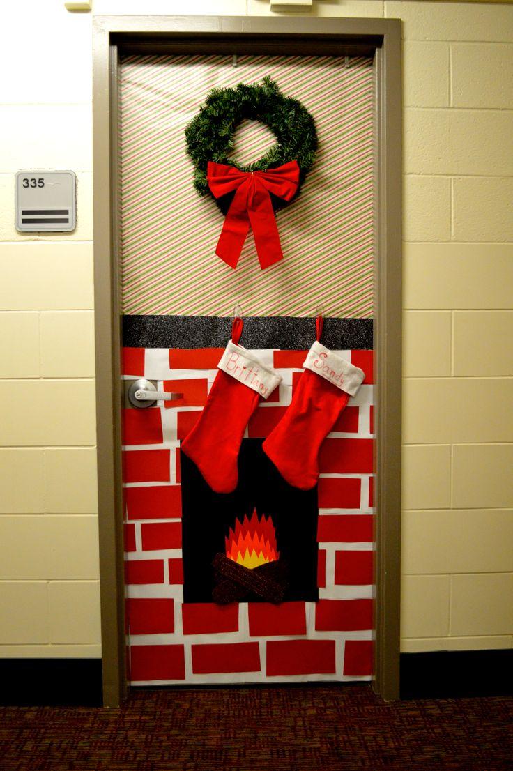 Christmas decorated dorm door