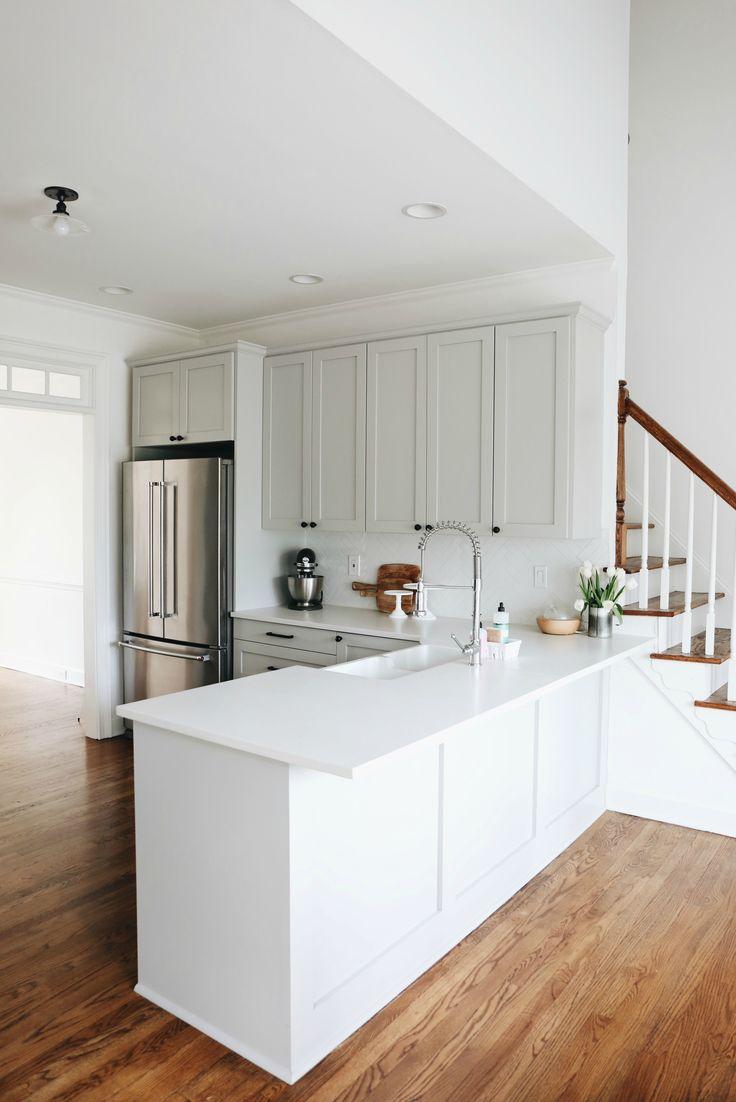 ikea kitchen prices ikea kitchen remodel Ikea Kitchen Renovation Grey Cabinets Herringbone Backsplash Quartz Countertops