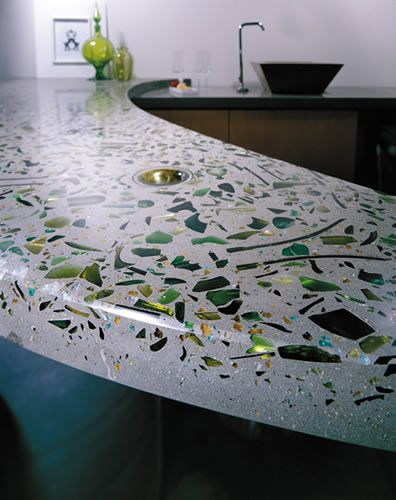 Bluestone Table Tops Green Embedded Glass In Concrete Countertop | Kitchen