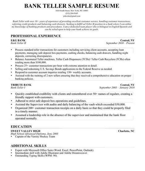 resume builder bank teller